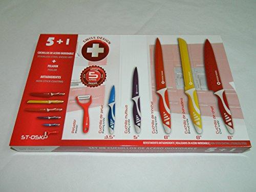 Swiss-Design-ST-05KP-Set-Juego-de-5-cuchillos-de-acero-inoxidable-y-pelador-revestimiento-ceramico-antiadherentes