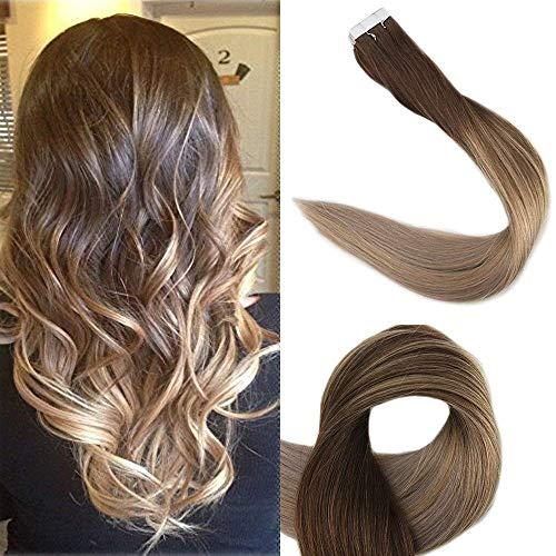 Human Extensions (Full Shine 22inch Hauteinschlagband in Extensions Human Hair Farbe # 4 verblassend zu # 18 und # 27 Highlight Braun mit blondem Ombre Remy Tape auf Echthaarverlängerungen 50g)