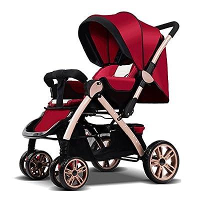 Cochecitos de dos vías para sentarse reclinable Ultra ligero portátil de cuatro ruedas de choque, carros de los niños GAOLILI