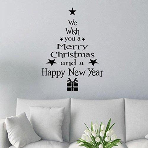 Ularmo Weihnachtsbaum-Buchstaben-Aufkleber Wandaufkleber Wandtattoo (Schwarz)