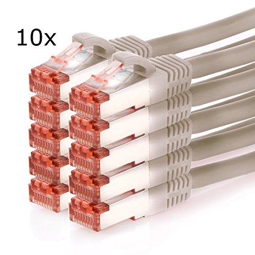 TPFNet 10er Pack 0,5m CAT.6 Ethernet LAN Patchkabel SFTP (Rj-45) 1GB - Grau (Ethernet-kabel 10er Pack)