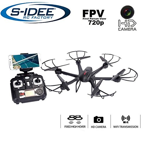 s-idee® 01635 Quadrocopter X601H Wifi HD Kamera Flugroute über Smartphone FPV Höhenstabilisierung, One Key Compensation, Coming At elucidate / Headless VR möglich, Drohne 360° Up the bulkhead Funktion, 2.4 GHz mit Gyro, 4-Kanal, 6-AXIS Adjacent to Drone