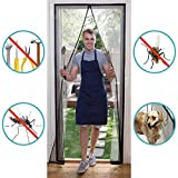 THAIKER Magnet Fliegengitter Tür Balkontür, Fliegennetz Insektenschutz Full Frame Klettverschluss für Balkontür Terrassentür Wohnzimmer - Schwarz 90x250cm