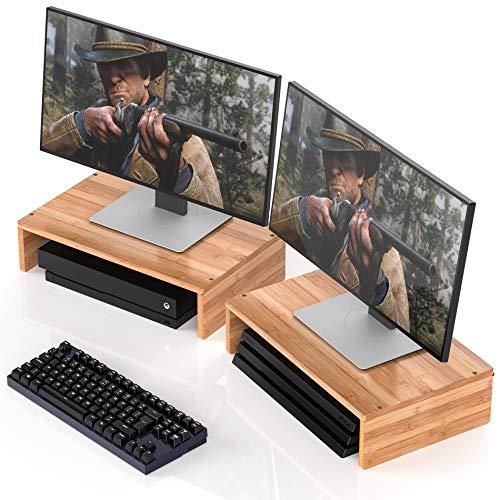Dual Computer-schreibtisch (Gut Weng Dual Monitor Ständer Riser Bambus für Computer Laptop Schreibtisch iMac Drucker 2Pack (M1-2P))