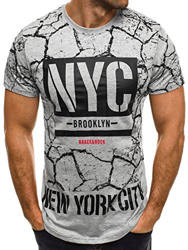 OZONEE Herren T-Shirt mit Motiv Kurzarm Rundhals Figurbetont ATHLETIC 1026 Grau_JS-SS105