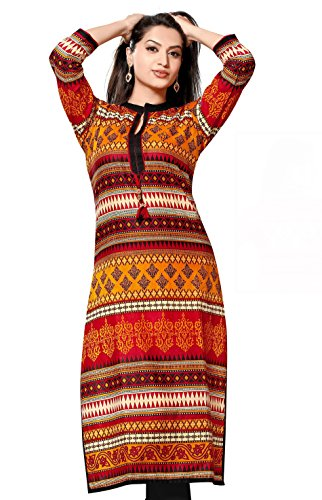 Chinese Collar Pakistani Style Long Kurti (Chest Size: 38)  available at amazon for Rs.599