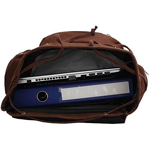 TrendStar Koolertron Rucksack SchultertascheKunstleder Schultertasche Damen Herren Camping Rucksack Rucksäcke Tasche für Laptop (A - Blau) Coffee 2