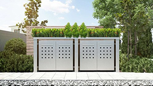 Mülltonnenbox Pflanzdach 4x4 Design Edelstahl 240 Liter 4 Mülltonnen