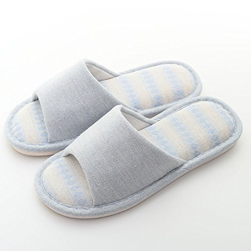 ZHIRONG Home Ladies Linen Slippers Hommes et femmes Home Indoor Anti-skid Cotton Slippers ( Couleur : Bleu , taille : 43/44 ) Marine
