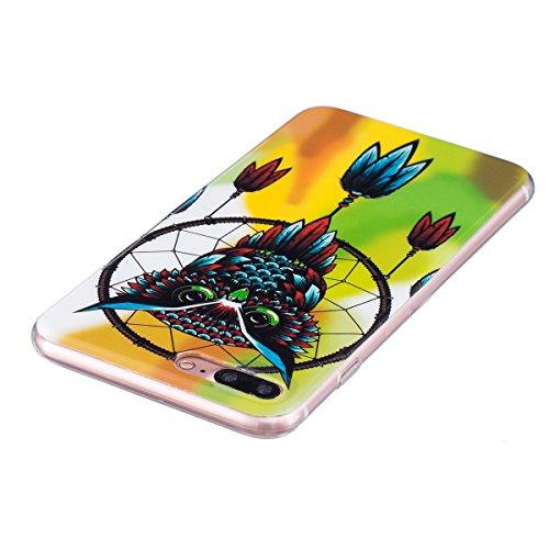 Felfy Coque Pour iPhone 7 Plus,iPhone 7 Plus Silicone Case Cover Ultra Mince Slim Silicone élégant Gel Translucide TPU Souple Motif Design Noctilucent TPU Case Slim Fit Protection Case Coque Bumper Ca Luminous Owl