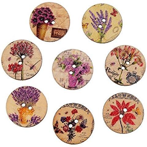 Pianta Di 50pcs Stampa Bottoni Rotondi Di Legno Per Cucire Arte Artigianato