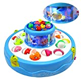 #5: UDee Electric Rotating Magnetic Magnet Fish Go Fishing Game With Music,Assorted Color