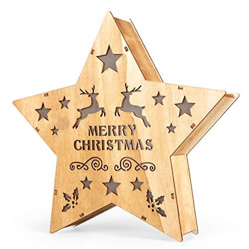 SnowEra LED Dekoleuchte in warmweiß | Holzstern in braun mit 10 LEDs | Weihnachtsbeleuchtung für innen | Stern Durchmesser ca. 25 cm | Weihnachtsdeko aus Holz FSC 100%