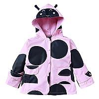 ALLLHMKS Pink Wave Girl Windproof Raincoat Cute Pattern Children