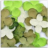 Toga AA22 Lot de 25 Fleurs imprimées Papier Vert 11 x 13,5 x 0,5 cm