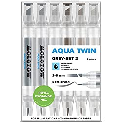 Molotow Aqua Twin Grey Set 2 6 Colours Kit Marcador Water based Acuarela Set Box