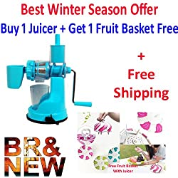 A To Z Sales Fruit And Vegetable Steel Handle Juicer with Vaccum Locking System, Blue + Free Fruit Basket + Free Shipping
