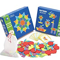 Tjackson Wooden Pattern Blocks Puzzle Kids Toys Jigsaw Shapes Dissection 130 Blocks 24 Designs