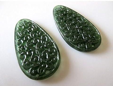 Unique sculpté à la main Vert Pierre précieuse de Serpentine à découper en filigrane, trouver, Naturel Serpentine Boucles d'oreilles 51x 27mm chaque,