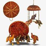 Décoration MOBILE Suspension Éléphants en tissu avec perles et clochettes Panier rouge déco intérieure Fabrication Artisanale...
