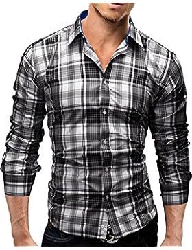 Merish Camicia Uomo, a scacchi, Slim Fit 3 Colori Taglia S - XXL Modell 39