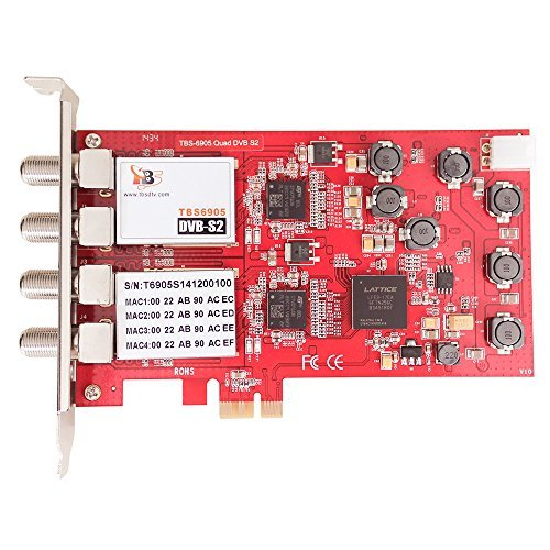 TBS®6905 DVB-S2 Quad Tuner PCIe Card Compatible with Windows 7 Media Center , MediaPortal, DVBlink, DVBDream, DVBViewer, ProgDVB, Skynet, TSreader, XBMC, MythTV