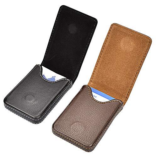 SNAGAROG 2 Pcs Business Card Holder vertikale Version Visitenkartenhalter aus PU-Leder multifunktionales Visitenkartenetui Kartenetui mit Magnetschnalle-Schwarz und Braun