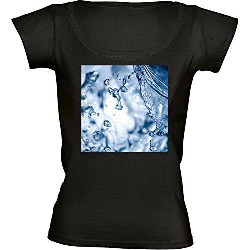rundhals-schwarz-damen-t-shirt-grosse-m-wasserspritzen-by-utart