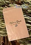 Sacchetti confettata personalizzati, carta kraft, 10x16 centimetri, a partire da 30 pezzi, avana, bustine carta, sacchetti carta confetti, confettata