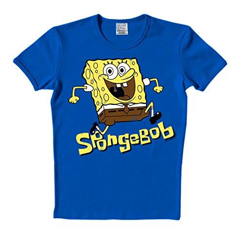 T-Shirt Spongebob - Rundhals Shirt - Rundhals Shirt von LOGOSHIRT - blau - Originaldesign, Größe XL (Spongebob Figur Kostüme)