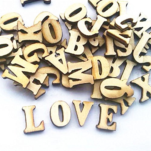 Leaftree 100 stücke Verzierungen Buchstaben Holz Alphabet Aufkleber Für Scrapbooking Cardmaking Handwerk DIY, natürliche Holz Farbe (Scrapbooking-aufkleber Buchstaben)