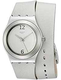 Swatch Damen-Armbanduhr Analog Quarz Leder YLS1033