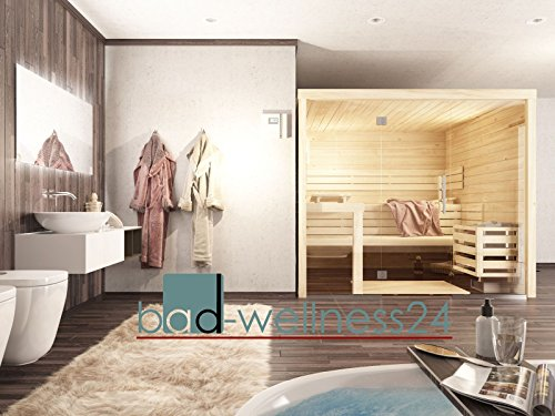 Sauna mit Glasfront Massivholz 45 mm EOS Saunaofen mit D2 Steuerung Massivholzsauna