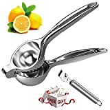 Rasse Juicer, Heavy Duty Metal Press Manual Lime Orange Citrus, Hand Fruit Juice Squeezers with Lemon Zester, Stainless_Steel