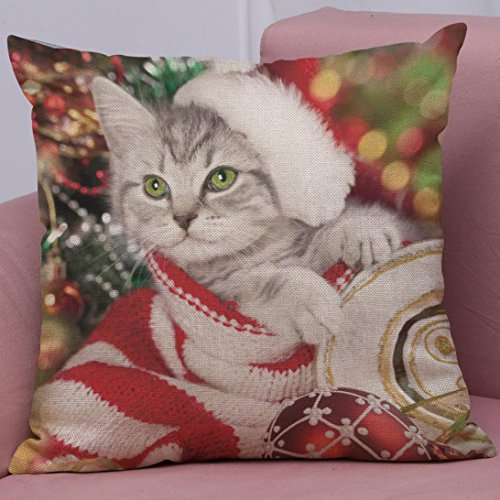 Soft Christmas Cushion Cover Throw Pillow Covers Mingfa Cute Xmas Cat Printing Sofa Bed Home Square Pillowcase 45×45 (D)