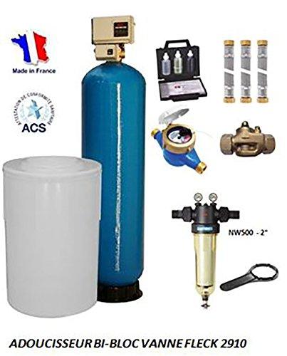 Adoucisseur d'eau bi bloc 175L fleck 2910 complet
