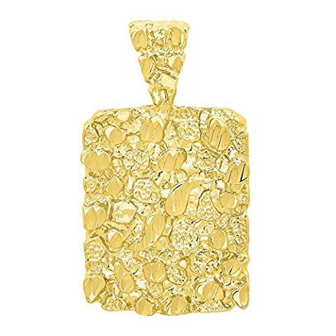14k Gold Plated Chunky Nugget Textured 25mm x 32mm Rectangular Pendant