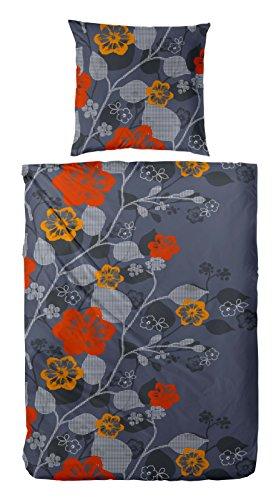 Kuschelweiche Microfaser - Fleece Bettwäsche / Material: Microfaser-Fleece aus 100% Polyester / Farbe: 082 grau - rot - orange / Größe: (155 x 220 cm)