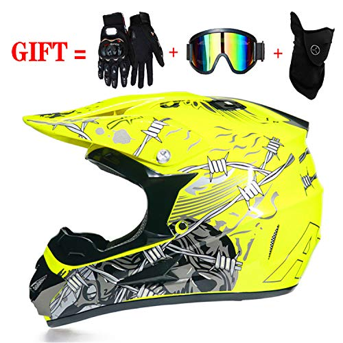 Helm Motorrad Kinder/Motorradhelm Schutzhelm für ATV Downhill, mit Handschuhen/Winddichte Schutzbrille/Maske Vier Jahreszeiten atmungsaktiv (XL(60~61cm), (Fox Kopf Maske)