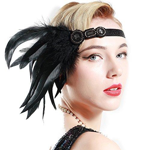 ArtiDeco 1920s Feder Stirnband 20er Jahre Stil Art Deco Flapper Haarband Great Gatsby Stirnband Damen Kostüm Accessoires (Lange Schwarze Feder mit elastischem (Schwarze Stirnband Kostüm)