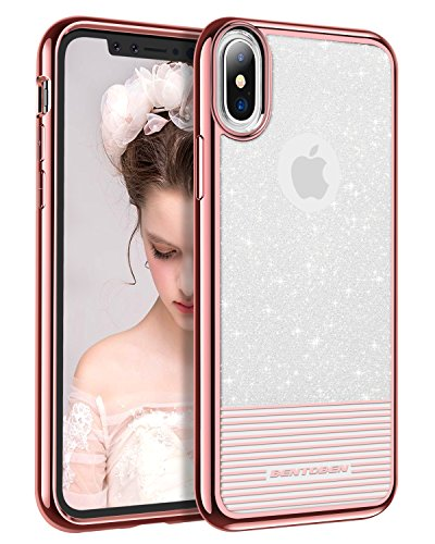 BENTOBEN Coque iPhone 8, 2 en 1 Etui de Protection Anti Choc avec Bande de Cristal Transparent de Flash avec Frame Chrom¨¦ Brillant en PC R¨¦sistant + TPU Agr¨¦able pour iPhone 8 2017