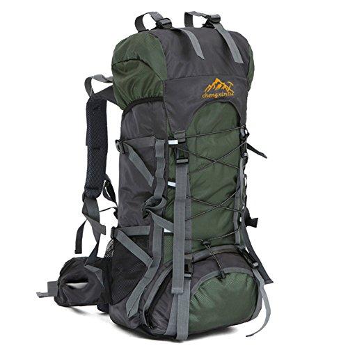 YUMOMO 55L nylon impermeabile Escursionismo Camping viaggio esterna zaino Sport Pack alpinismo arrampicata zaino Bag (rosso) Army Green
