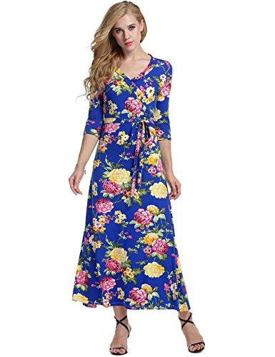 Meaneor Robe Longue Imprimée Florale Maxi Casual Robe du Soir Boheme Bleu Foncé S