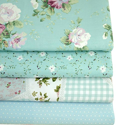 LA HAUTE 50x50cm Blue Series Fabric Bundles Flower Printed Cotton Fabric Comfortable Patchwork Fabric Home Textile Material Cloth for Sewing by LA HAUTE