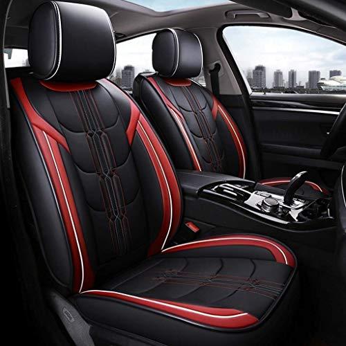 HYLH Sitzbezüge Auto Universal Set, Leder Sitzkissen für die Vordersitze und Rücksitze Sitzbezüge Sitzschutz (Farbe: Rot)