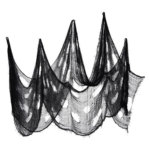 Tela Espeluznante Decoración de Halloween Materiales de Fiesta Tela de Halloween Escalofriante Colgador de Puerta Decorativo (8 Yardas x 30 Pulgadas, Negro)