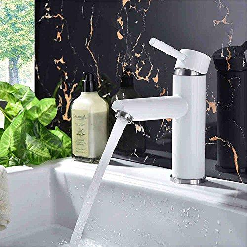 WATER TOWER Waschtischarmatur Waschbecken Mischbatterie Bad Armatur,Weiße Farbe Heiß Und Kalt Einlochmontage Wasserhahn Edelstahl Badezimmerschrank Wasserhahn -
