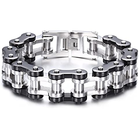 YSM Biker Bracciale catena 235 millimetri in acciaio inossidabile Bracciale 20 millimetri braccialetto Larghezza uomo maschili (Argento + Nero)