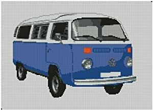 Volkswagen VW T2Transporter van Bleu foncé kit point de croix 34,9x 25,4cm
