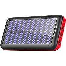 Cargadores Solare Power Bank, BERNET 24000mAh Batería Externa con 3 Puertos de Salida USB y Entrada Doble(Lighting y Micro) con Solar Cargador Portátil para iPhone, iPad, Samsung Huawei y Otros Smartphone-Rojo